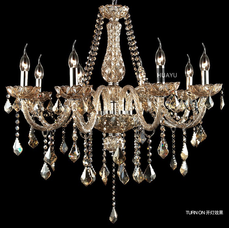 Modern K9 Candles Crystal Chandelier 8 Head Chandelier Crystal Living Room Luminaire Cog ...