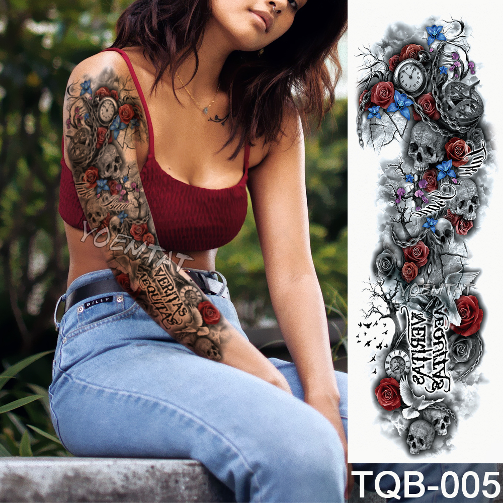 NEW 48*17cm Full Flower Arm Tattoo Sticker Color text skull roses Temporary Body paint Water Transfer fake Tatoo sleeve