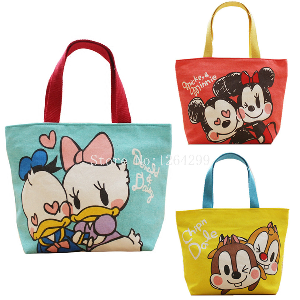New Fashion Mickey Minnie Donald Duck Daisy Chip And Dale S Woman Small Canvas Handbags Kids Lunch Bags For Children In Top Handle From Luggage