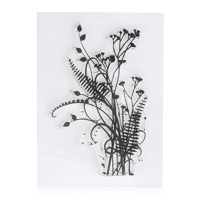 Flower & Grass Transparent Silicone Clear Rubber Stamp Sheet Cling Scrapbook DIY lovely animals and ballon design transparent clear silicone stamp for diy scrapbooking photo album clear stamp cl 278