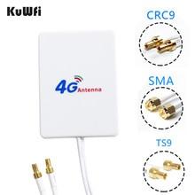 KuWfi 3G/4G LTE 안테나 화웨이 ZTE 4G LTE 라우터 모뎀 용 3m 케이블이있는 4G 외부 안테나 TS9/ CRC9/ SMA 연결