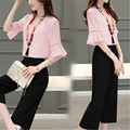 New Wide Leg Pants Suit  2016 Summer Women Casual Chiffon Blouse Two-Piece Set Female Short Shirt +Loose Wide Leg Pants Set C233