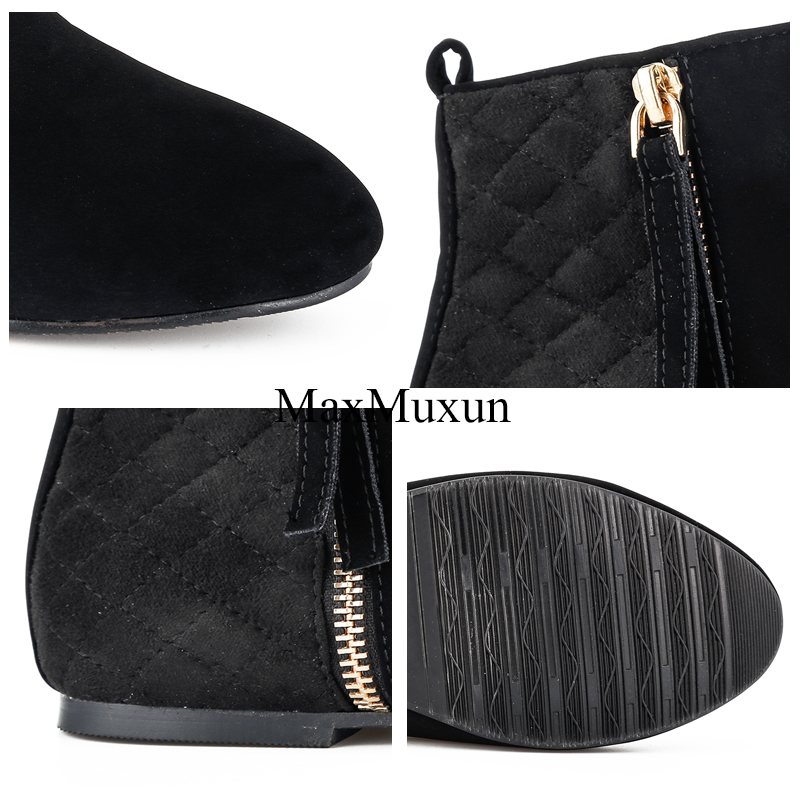 MaxMuxun Women Booties Classic Black Flat Heel Ankle Boots For Women Spring Autumn Fashion Ladies Black Boots Causal Short Boot