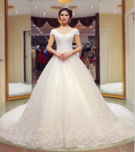 Handmade Beading A line Wedding Dress Short Sleeve V neck Appliques Lace up Chapel Train Vestido