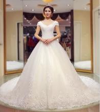 Handmade Beading A-line Wedding Dress Short Sleeve V-neck Appliques Lace-up Chapel Train Vestido De Noiva NM 751