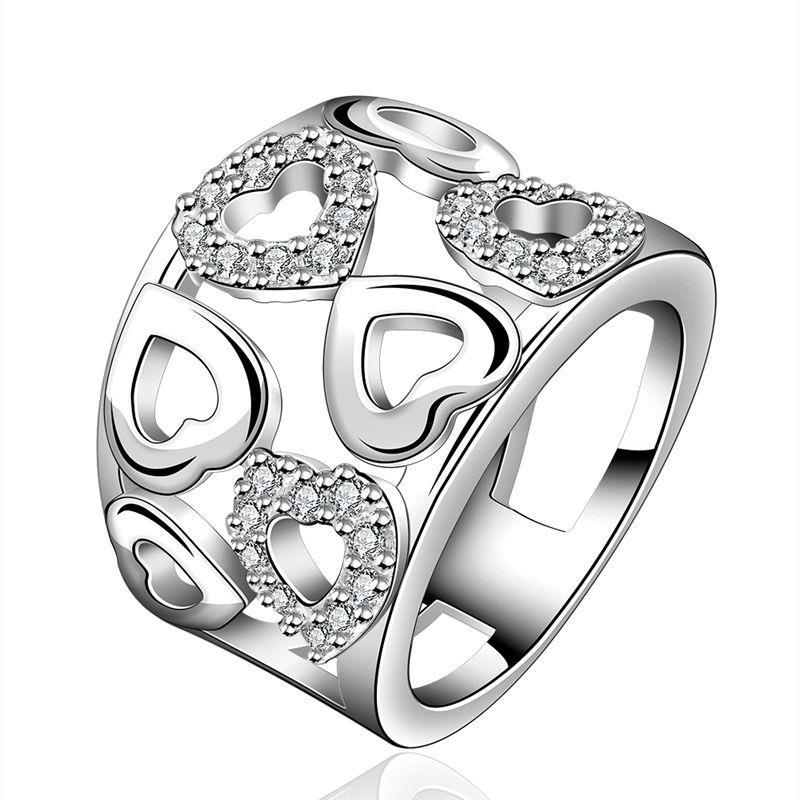 Specials silver plated jewelry fashion women sparkling crystal openwork oversensitive ring R633