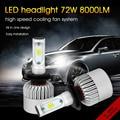 72 W 8000LM H7 Led سيارة المصابيح الأمامية 6500 k رقائق CSP جميع في واحد LED كشافات السيارات الجبهة الضباب ضوء repalcement لمبة 12 V