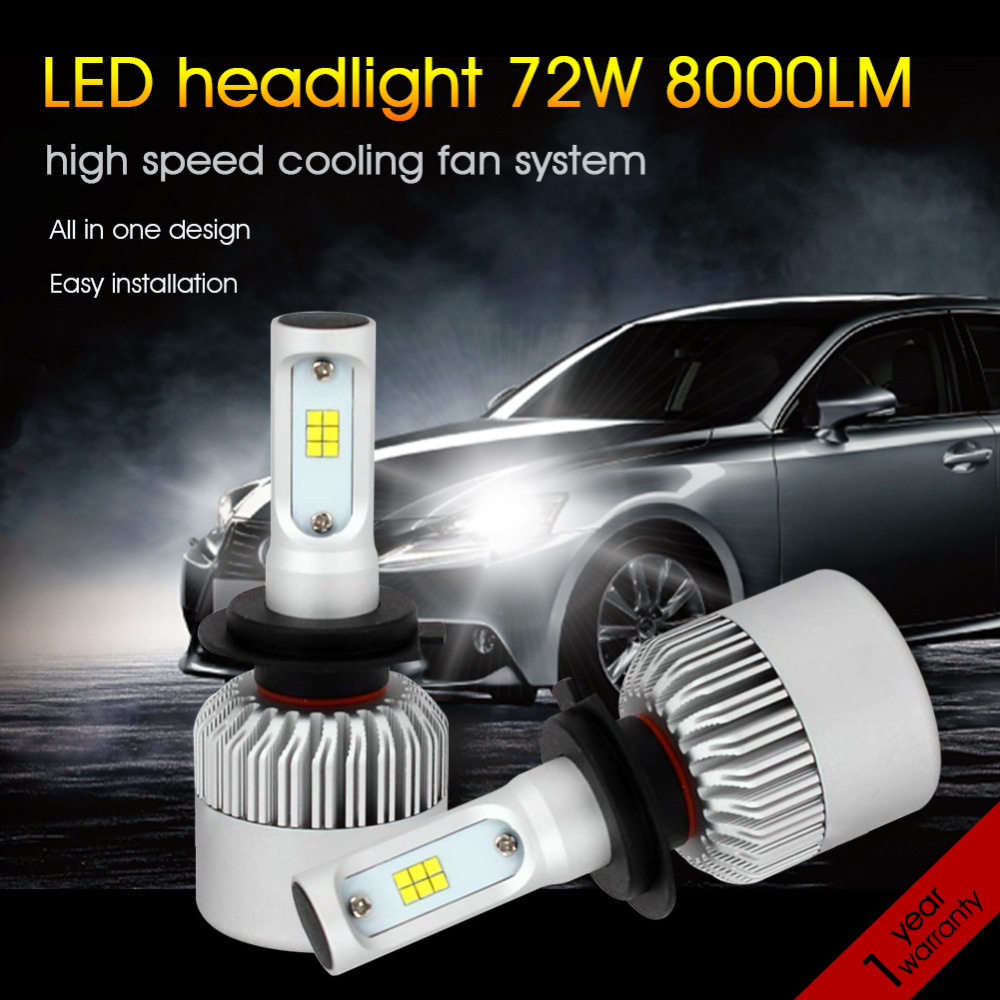 72W 8000LM H7 Led Car Headlight Bulbs 6500k Chips CSP All in one LED Headlamp Auto Front Fog Light Repalcement Bulb 12V