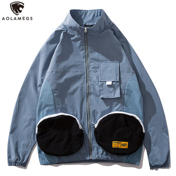 Aolamegs Jacket Men Funny Pockets Tracksuit Japanese Retro Harajuku Patchwork Color Advanced Windbreaker High Street Streetwear