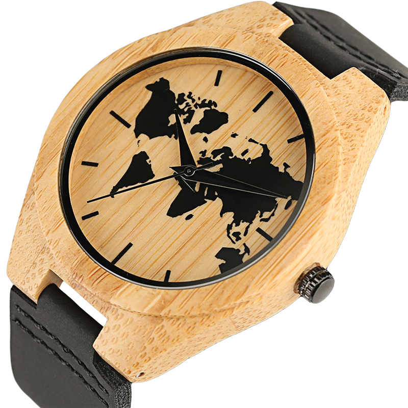 Handmade Bamboo Quartz Mens Wristwatch World Map Pattern Design Fashion Casual Genuine Leather Watch Best Gifts for Men WomenHandmade Bamboo Quartz Mens Wristwatch World Map Pattern Design Fashion Casual Genuine Leather Watch Best Gifts for Men Women