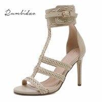Rumbidzo 2018 Fashion Women Plus Size Summer High Heels Shoes Women Pumps Peep Toe Rome Party