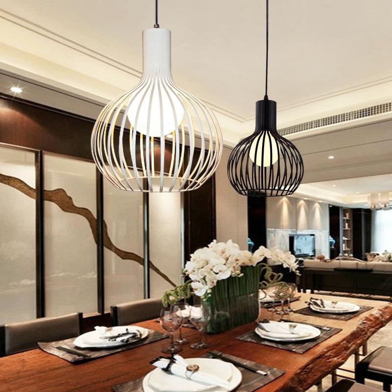 Modern Pendant Lights Ball Lampshade Loft Pendant Lamps E27 110V 220V for Dinning Room Black/White Iron Lighting WPL021