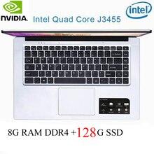 P2-34 8G RAM 128G SSD Intel Celeron J3455 NvIDIA GeForce 940M Gaming laptop keyboard and OS language available for choose
