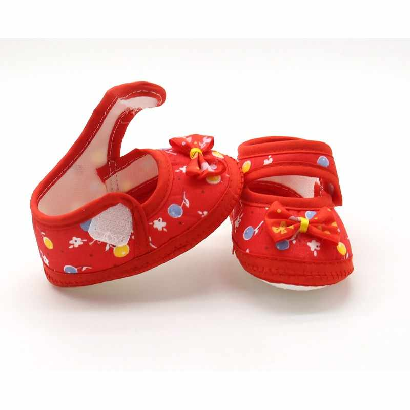 Sweet Baby Girls Soft Sole First Walkers zapatos de punto redondo con zapatos de Bowknot