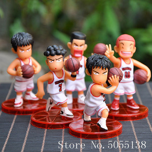 5pcs/lot SLAM DUNK Shohoku Basketball Player Anime Figure Doll Hanamichi Sakuragi Rukawa Kaede Model Toy for Kids(China)