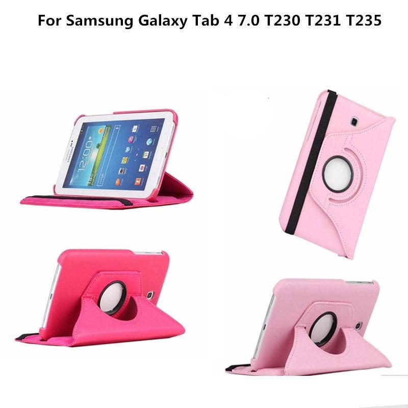 Tab4 7.0 T230 SM-T230 SM-T231 360 вращающийся стенд PU кожаный чехол флип чехол для Samsung Galaxy Tab 4 7.0 дюймов t230 T231 T235