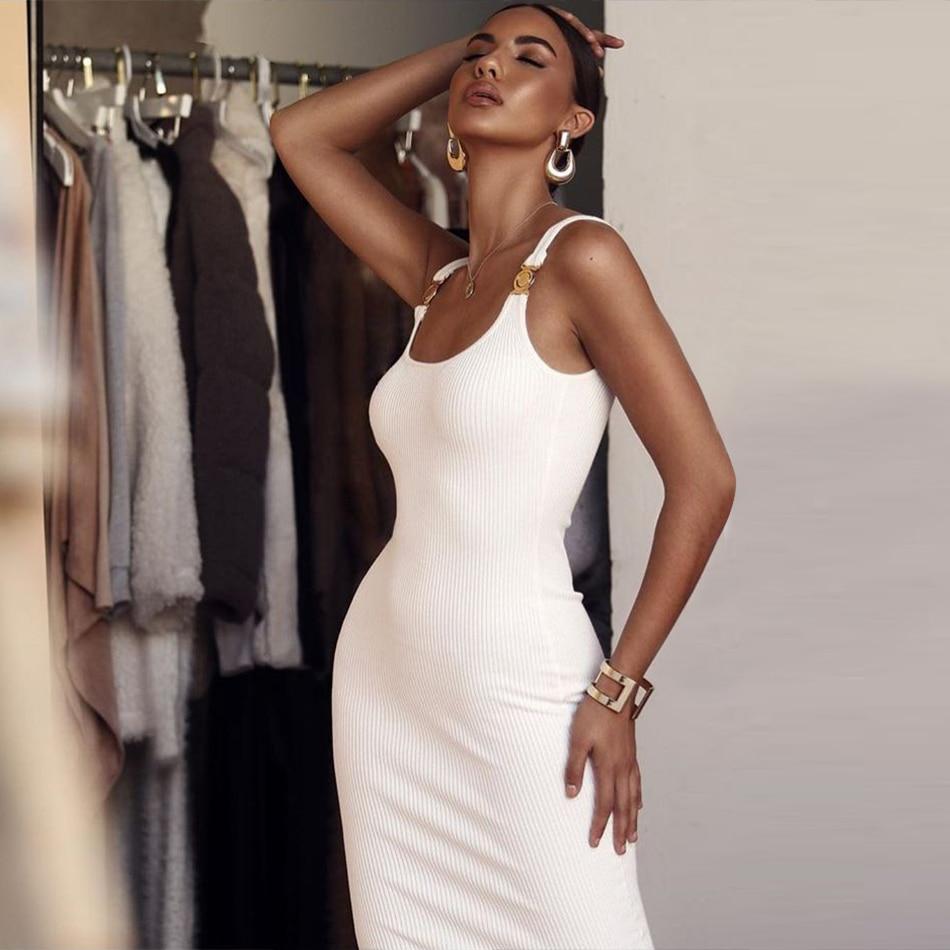 ADYCE 2019 New Summer Women Bodycon Bandage Dress Sexy Spaghetti Strap White Club Dress Vestidos Celebrity