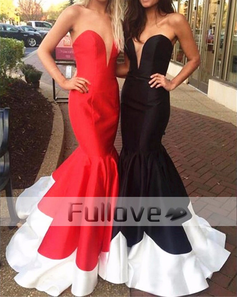 Noble Graceful Red Satin Sweetheart   Evening     Dresses   2019 Bodice Corset Chest Slit Mermaid Formal Party Gown Vestido Longo