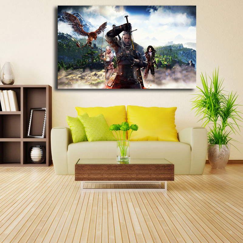 The Witcher 3 Wild Hunt Ciri Yennefer Geralt HD Wall Art Canvas Posters Prints Oil Painting Wall Pictures For Bedroom Home Decor in Painting Calligraphy from Home Garden