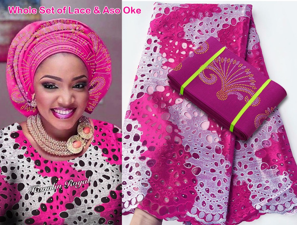 5 yards 2 tunes African tulle lace french lace fabric matching Aso Oke headtie gele headgear