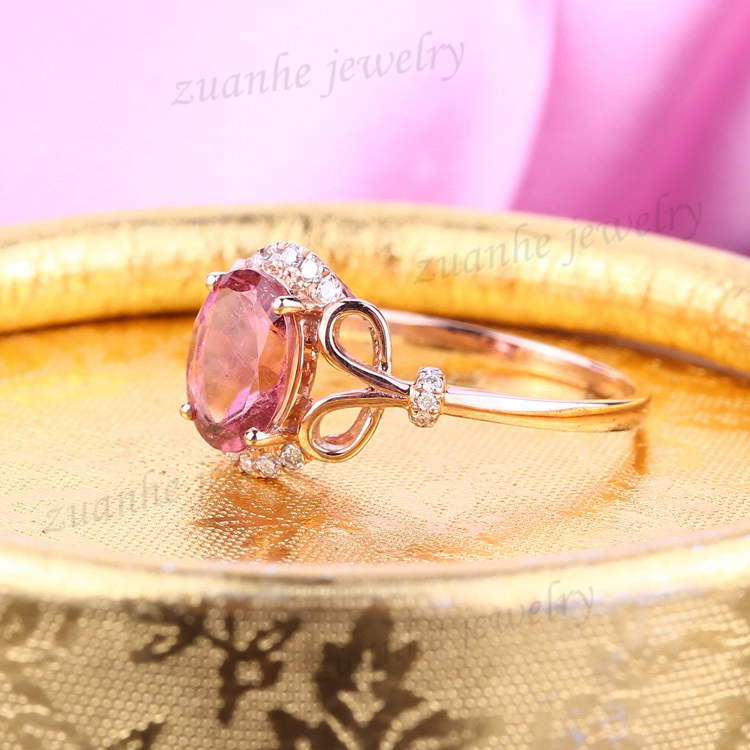 Solid 14k Rose Gold Ring Natural Diamonds 6x8mm Oval Tourmaline Cute Engagement Wedding Ring Women Jewelry new solid au750 rose gold ring women cute link party ring can adjustable ring
