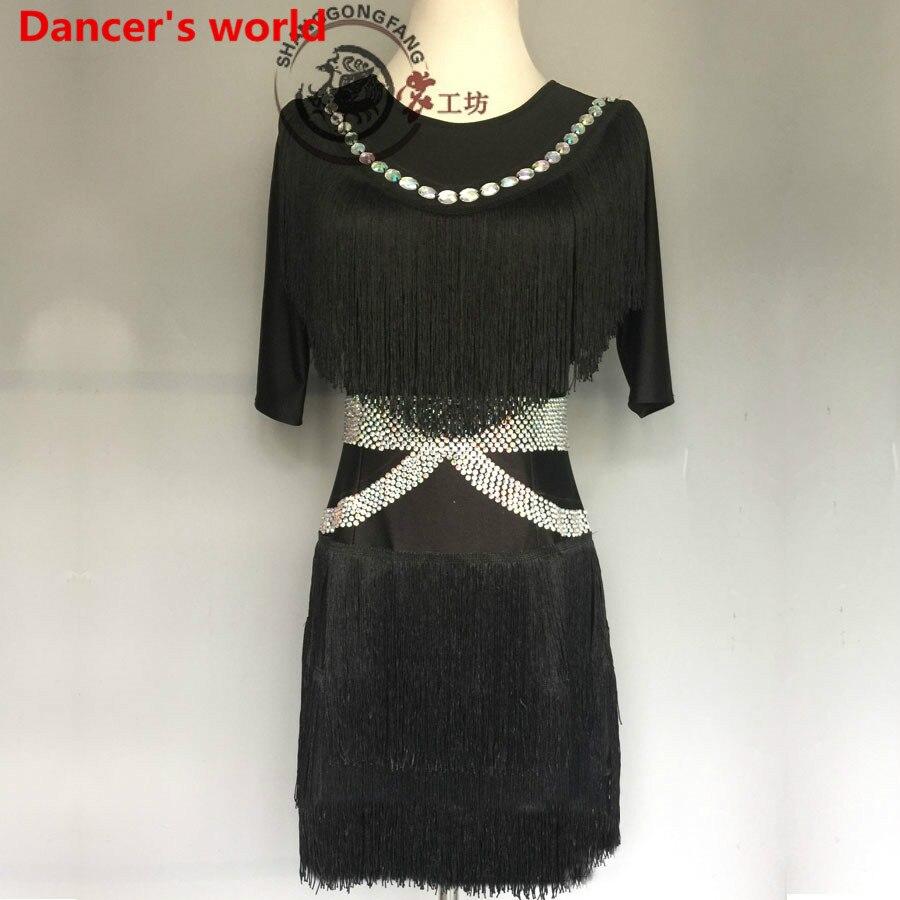 Customizable Colors Tassel Latin Dance Dress Women Dancing Dress Irregular Skirt Diamond Style Latino Costumes For Salsa Tango