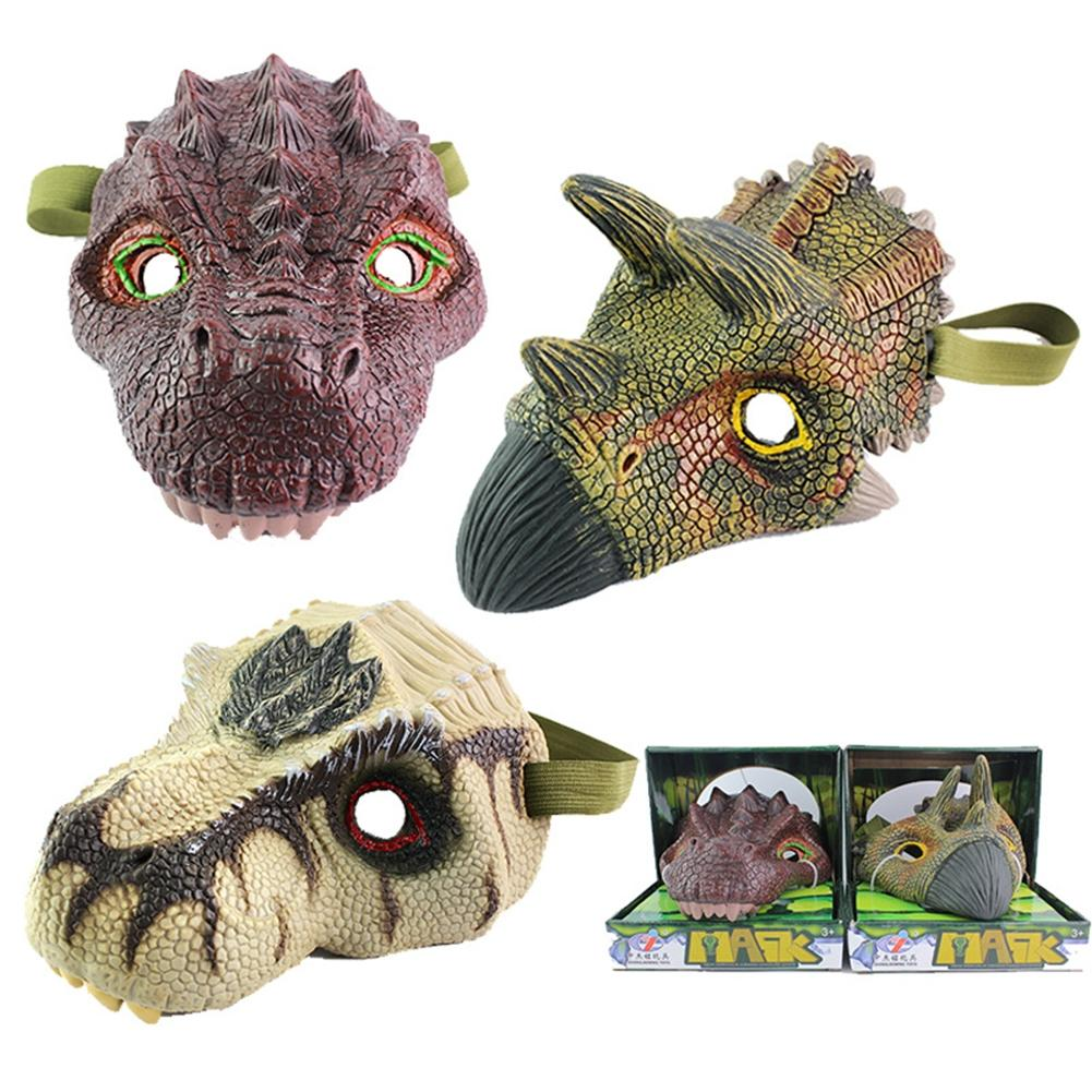 LeadingStar Simulation Dinosaur Mask Model Halloween Funny and Prank Toy Tyrannosaurus Rex Triceratops zk10