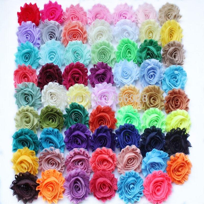18 ярдов/партия, потрепанные шифоновые цветы ''2,5, повязка потертые цветы 28 цветов