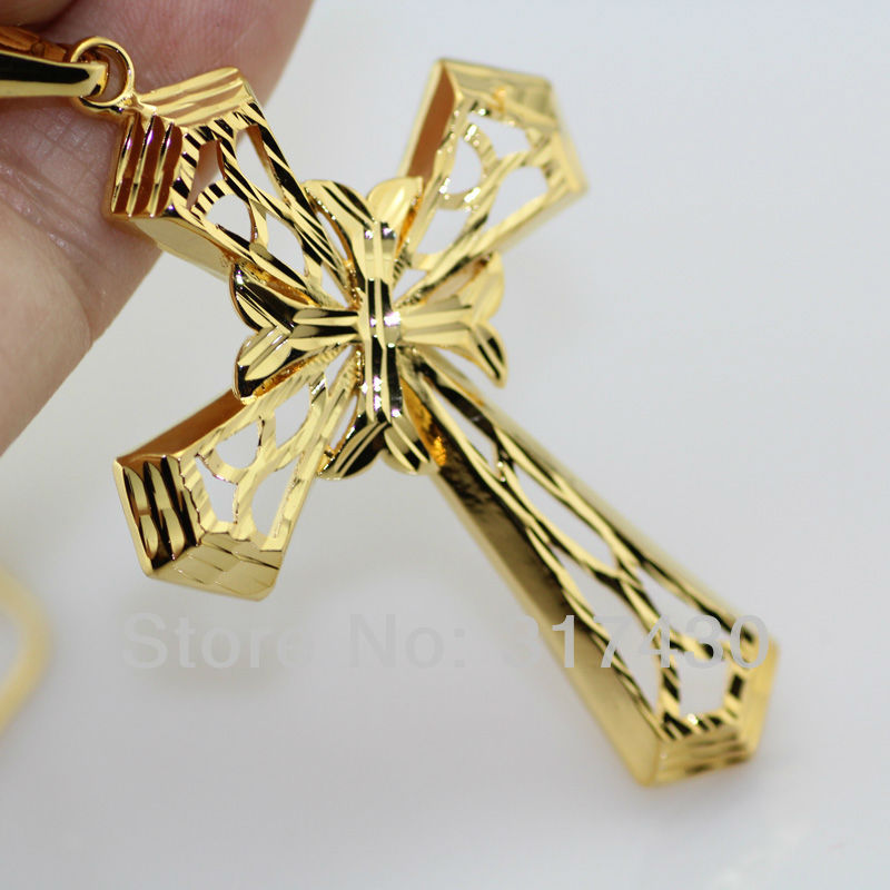 Free shipping 18k gold filled necklace jesus christ crucifix free shipping 18k gold filled necklace jesus christ crucifix filigree cross pendant men womens mens or womens size 50mm36mm in pendants from jewelry aloadofball Images