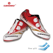 Sidebike Men Cycling Shoes Road Bike Carbon Fiber Light Breathable Leather slip-on bicycle Bike Shoes Sport Road Bicycle shoes