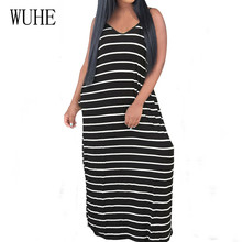 WUHE Summer Casual Spaghetti Strap Loose Dress Female Sexy Sleeveless Hollow Out Elegant Maxi Women Striped Print Dresses