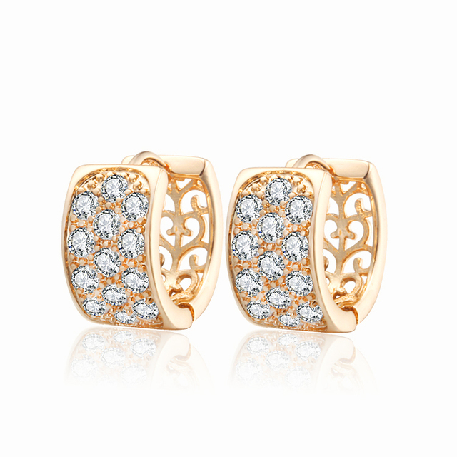 Gold-Color Hoop Huggie Earrings For Women Stone Crystal CC Earings Brincos Fashion Jewelry Free shipping 20E18K-33