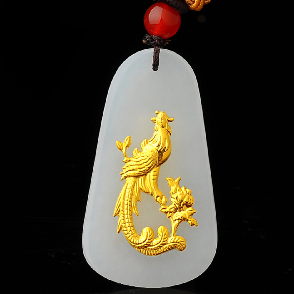 2018 Natural Jade 24K Gold Dragon and Phoenix Drop Pendant Necklace Amulet Lucky Pendant Necklace Jewelry for Women Men купить недорого в Москве