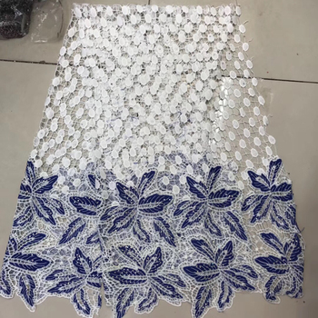 High Quality African Lace Fabric For Wedding 2018 France  Lace Fabric With Stones Doublecolor Nigerian Guipure Cord Lace LR928