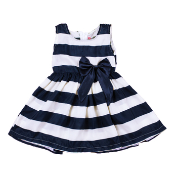 Baby Dresses For Girls Summer Princess Cute Cotton Striped Baby Girls Clothing Lolita Dress For 0-24 M Kids With Bow-knot