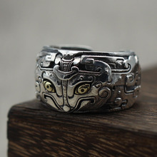 S925 Sterling Silver Jewelry Retro Personality Brass Eye Gluttonous Open Ring Ring Thai Silver Men And Women Ring
