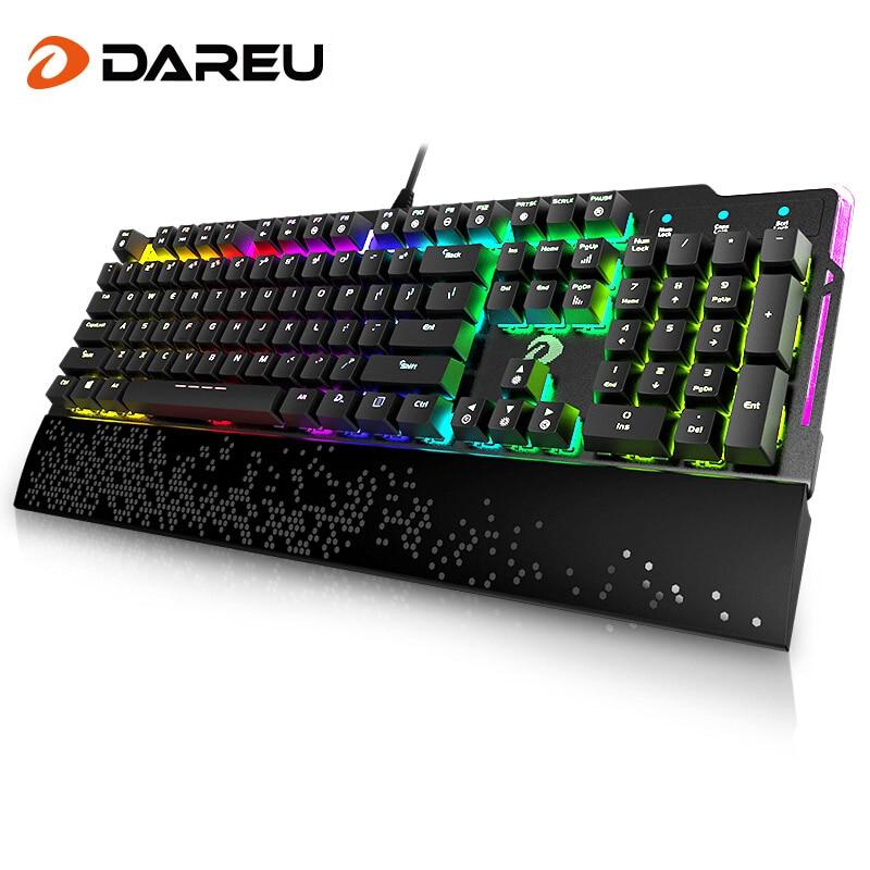 Dareu EK815 104 Keys Gaming Wired Mechanical Keyboard RGB LED Backlit Anti-Ghosting USB Powered For Gamer Computer ...