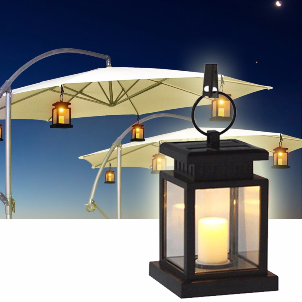 Outdoor Hanging Tree Lights: Outdoor Solar Powered Hanging Umbrella Lantern Led Candle
