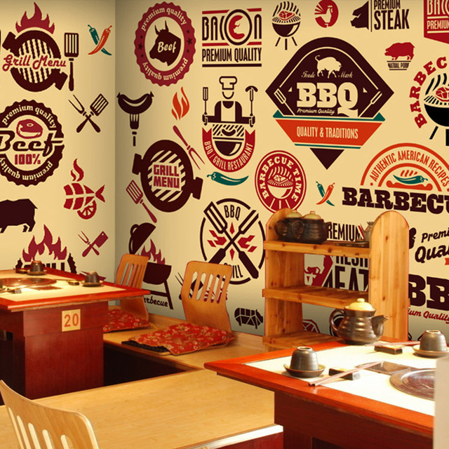 Custom Mural Wallpaper Cartoon Food Barbecue Grill Restaurant Dining