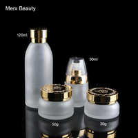 30g 50g 30ml 120ml Frosted Clear Glass Lotion Cosmetic Toner Serum Bottle Gold silver Flower Lid - 10pcs/lot, Merx Beauty Brand
