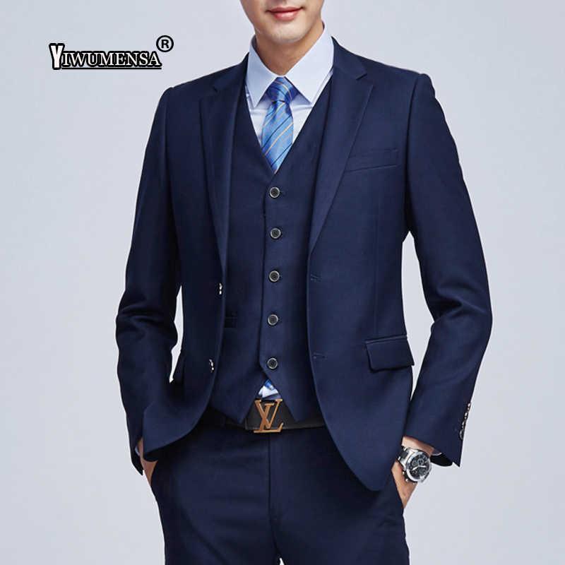 Yiwumensa 衣装マリアージュオムスリムフィットメンズスーツとパンツ紺/黒/白/グレーの結婚式のスーツ男性のためのタキシードブレザー
