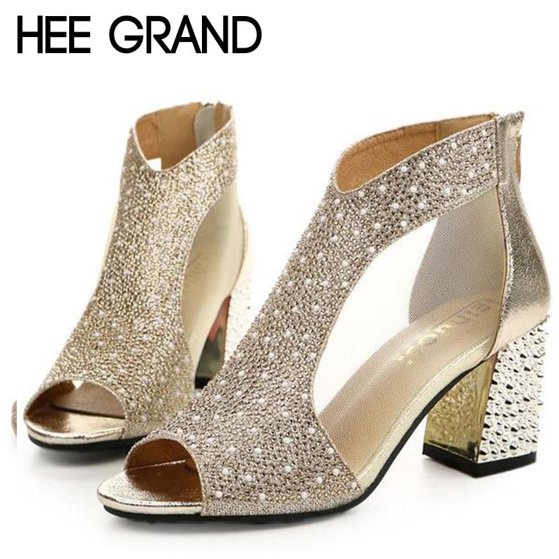HEE GRAND 2018 Women s High Heel Sandals Women Summer Fashion Dancing  Sandals Fish Mouth Toe Sexy cbe505a8efe0