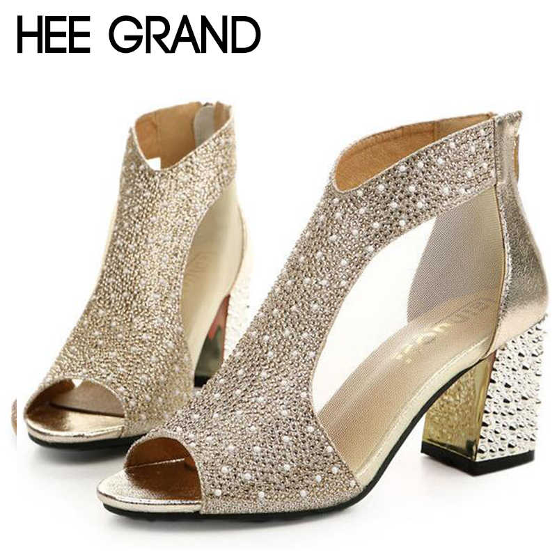 HEE GRAND 2018 Women's High Heel Sandals Women Summer Fashion Dancing Sandals Fish Mouth Toe Sexy Party Wedding Shoes XWZ4961