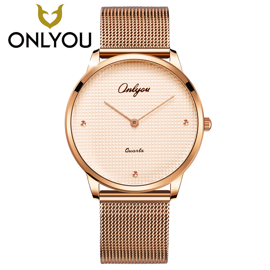 ONLYOU Fashion Rose Gold Luxury Men Quartz Wristwatch Women Dress Automatic Watch Ultra thin Ladies Bracelet Clock reloj mujer onlyou luxury brand fashion watch women men business quartz watch stainless steel lovers wristwatches ladies dress watch 6903