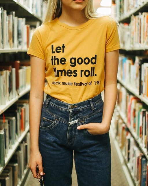 2c3ce3046 Hipster Cotton Yellow Clothing Tee Let The Good Times Roll Tumblr T Shirt  Casual Slogan Grunge Ladies t shirt Summer Camisetas-in T-Shirts from  Women's ...