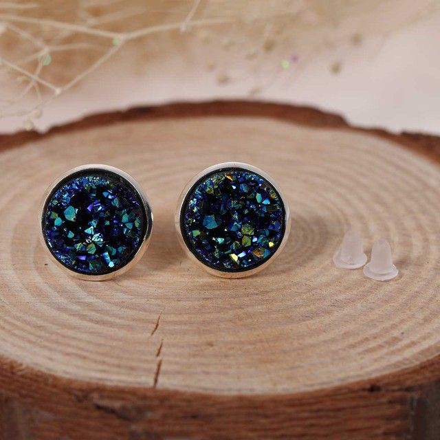 Doreen Box Copper Ear Post Stud Earrings Round Royal Blue AB Color W/ Stoppers 16mm x 14mm,1 Pair 2017 new