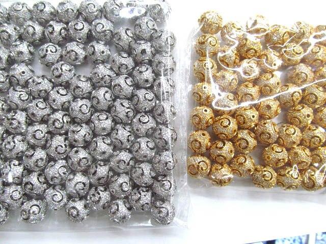 Qualité AAA 12 mm 12 pcs ouvrent entretoise métallique et cristaux de zircons ballon rond imploré perles bijoux de charme d'or antiques d'argent