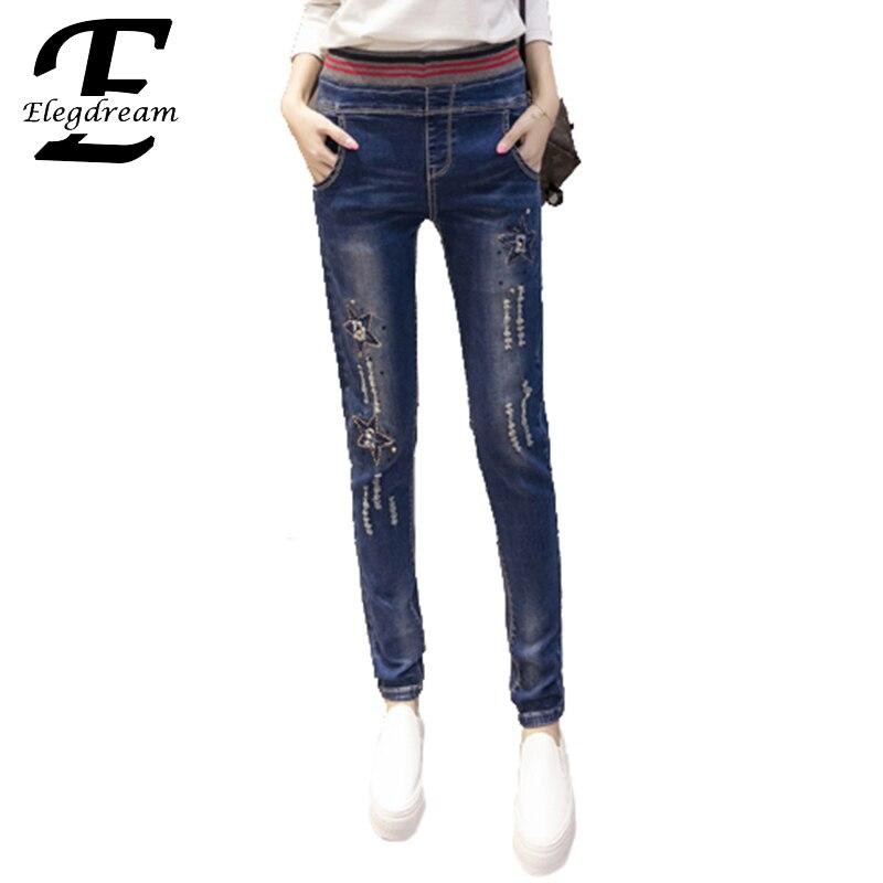 Elegdream Casual Women Jeans for Women Mid Waist Slim Elastic Destroyed Rhinestones Denim Pants Female Hole Trousers Plus Size смартфон meizu m3 note 32gb gold