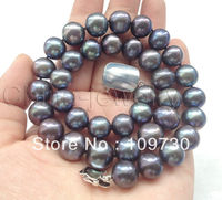 Jewelry 001800 only AAA 17 12.5mm natural black round FW pearl necklace 925 silver mabe clasp 5.5