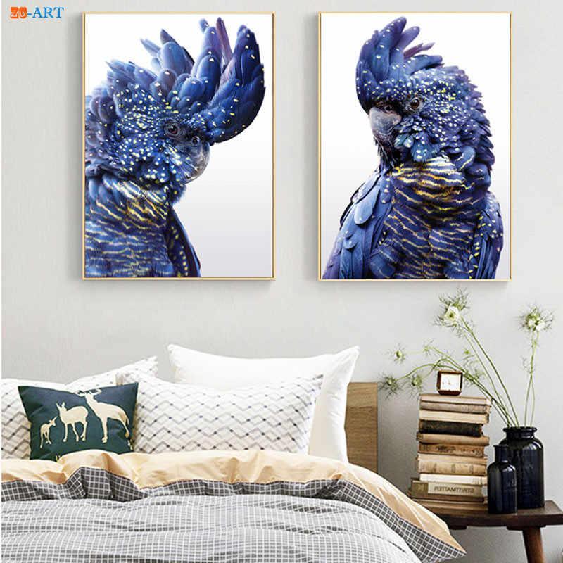 Australischen Vogel Druck Papagei Poster Schwarz Kakadu Leinwand Malerei Navy Blau Wand Kunst Bilder für Wohnzimmer Dekorative